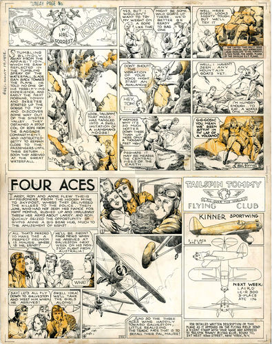 "Forrest : Sunday page ""Tailspin Tommy"" + ""Four Aces""  (1938)"