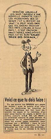 Calendrier 1951.Franquin Spirou Et Fantasio Etudes D Oiseaux Pour Le